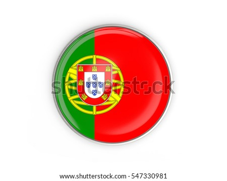 Flag of portugal, round icon with metal frame isolated on white. 3D illustration