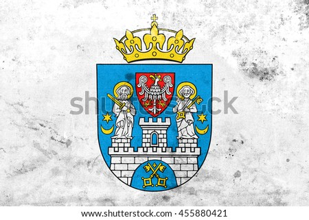 Flag of Poznan, Poland, with a vintage and old look - stock photo