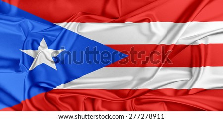 Flag of Puerto Rico waving in the wind