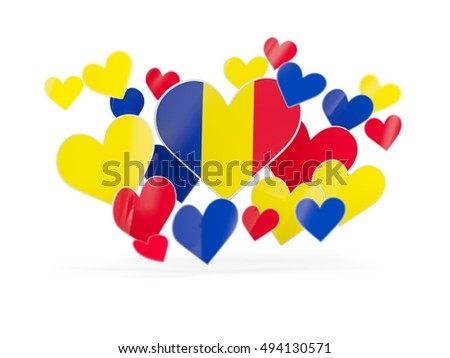 Flag of romania, heart shaped stickers on white. 3D illustration