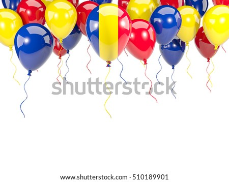 Flag of romania, with balloons frame isolated on white. 3D illustration
