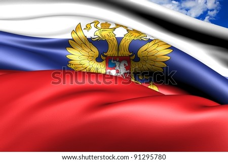 Flag of Russia against cloudy sky. Close up. - stock photo