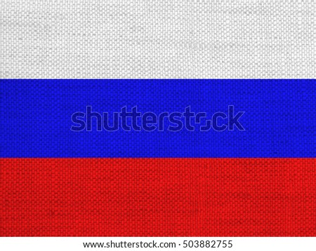 Flag of Russia on old linen