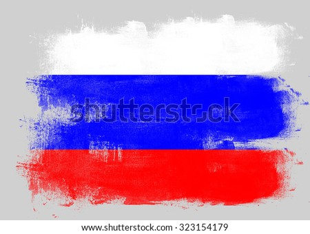 Flag of Russia painted with brush on solid background,
