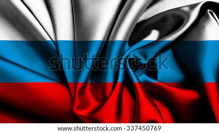 Flag of Russia, Russian Flag painted on silk texture - stock photo