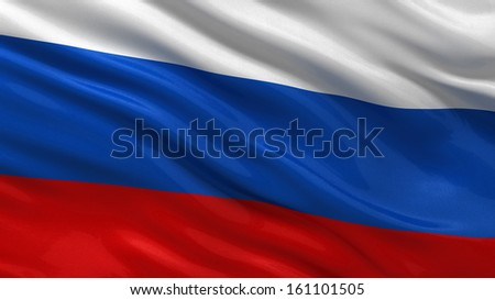 Flag of Russia waving in the wind - stock photo