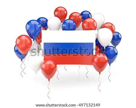 Flag of russia, with balloons isolated on white. 3D illustration