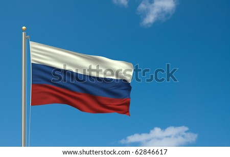Flag of Russia with flag pole waving in the wind on front of blue sky - stock photo