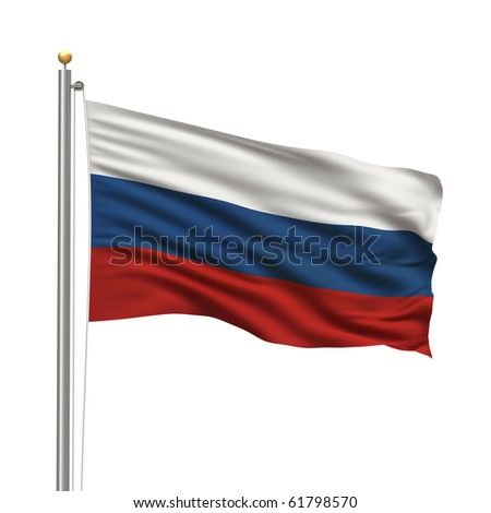 Flag of Russia with flag pole waving in the wind over white background - stock photo