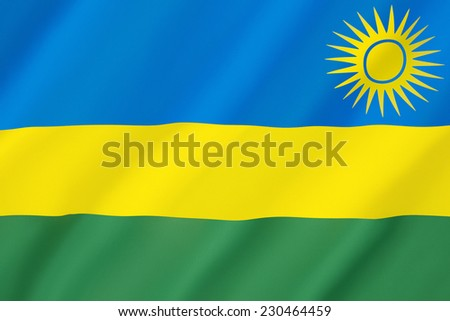 Flag of Rwanda - Adopted on 25th October 2001. The flag represents national unity, respect for work, heroism, and confidence in the future. It was adopted to avoid connotations to the 1994 genocide. - stock photo