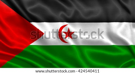 Flag of Sahrawi Arab Democratic Republic - stock photo
