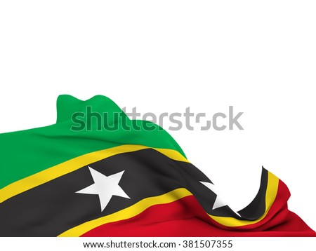 Flag of Saint Kitts and Nevis moved by the wind, leaving a  white background
