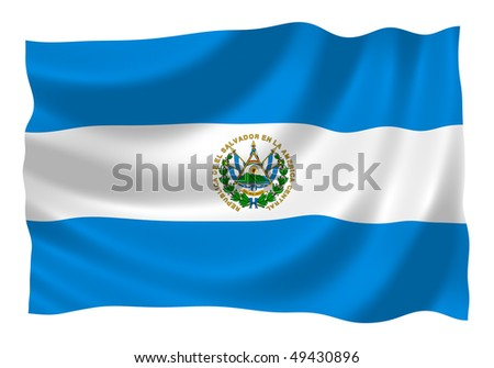 Flag of Salvador waving in the wind - stock photo