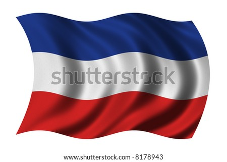 Flag of Serbia and Montenegro waving in the wind