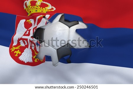 Flag of Serbia and soccer ball, hole in flag - stock photo