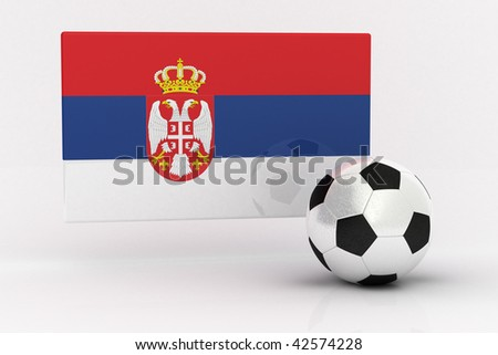 Flag of Serbia with soccer ball - stock photo