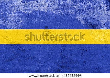 Flag of Silesian Voivodeship, Poland, with a vintage and old look - stock photo