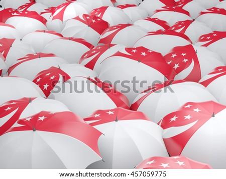 Flag of singapore on umbrella. 3D illustration - stock photo