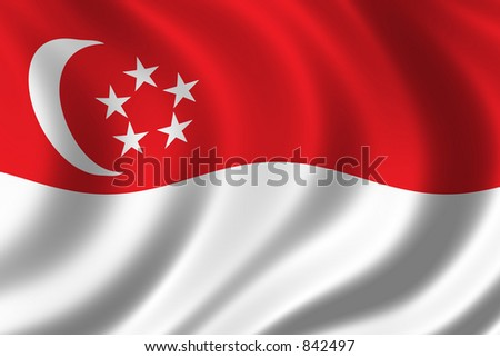 Flag of Singapore waving in the wind - stock photo