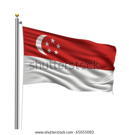 Flag of Singapore with flag pole waving in the wind over white background - stock photo