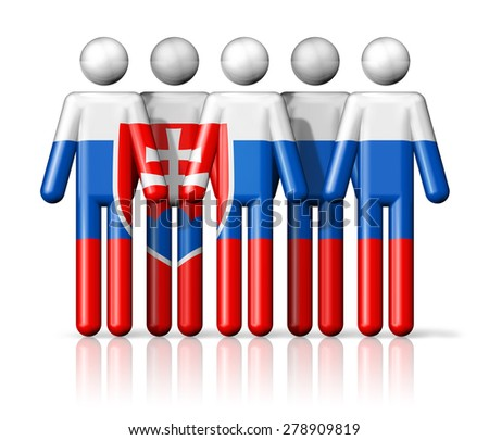 Flag of Slovakia on stick figure - national and social community symbol 3D icon