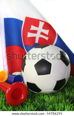 Flag of Slovakia with a football in a field