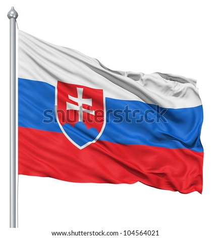 Flag of Slovakia with flagpole waving in the wind against white background