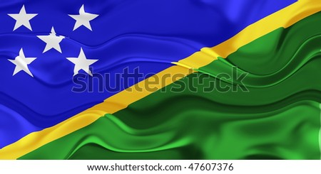 Flag of Solomon Islands, national country symbol illustration wavy