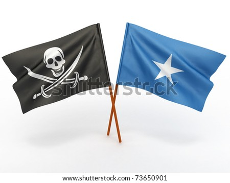 Flag of Somali and Holly Roger on white isolated background. 3d - stock photo