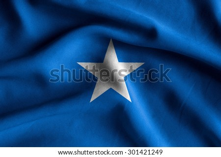 Flag of Somalia. Flag has a detailed realistic fabric texture. - stock photo
