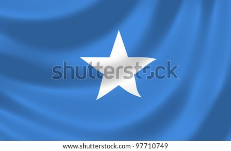 Flag of Somalia waving in the wind detail - stock photo