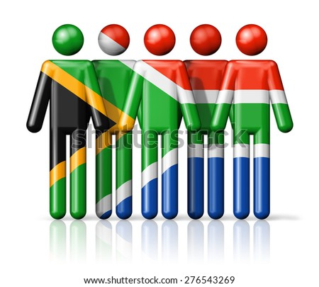 Flag of South Africa on stick figure - national and social community symbol 3D icon - stock photo