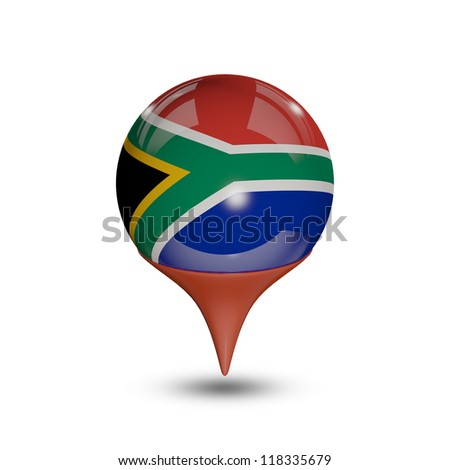 Flag of South Africa pin isolated on white. - stock photo