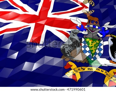 Flag of South Georgia and the South Sandwich Islands 3D Wallpaper Illustration, National Symbol, Low Polygonal Glossy Origami Style