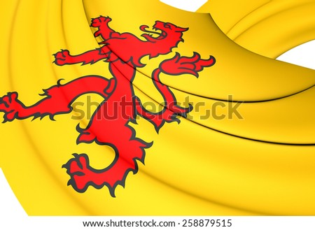 Flag of South Holland, Netherlands. Close Up. - stock photo