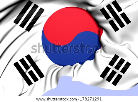 Flag of South Korea. Close Up.