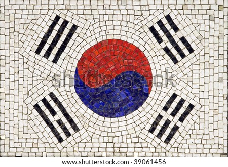Flag of South Korea made from small tiles - stock photo