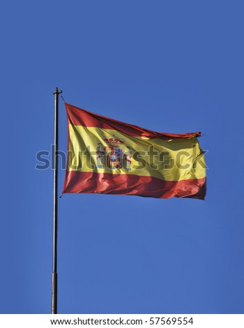 Flag of Spain blowing in the wind. National symbol