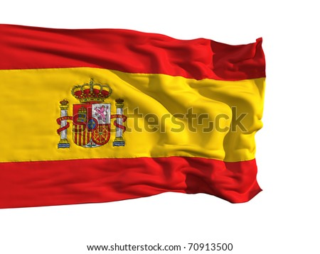 Flag of Spain, fluttering in the wind. Sewn from pieces of cloth, a very realistic detailed flags waving in the wind, with the texture of the material, isolated on a white background - stock photo