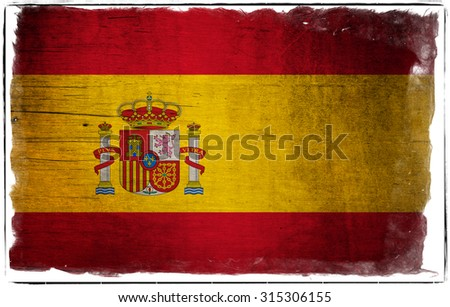 Flag of Spain grunge and scratched with sloppy sloppy border