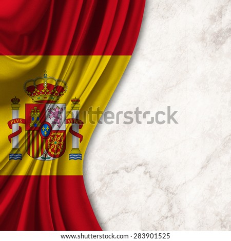 Flag of Spain on white grunge background - stock photo