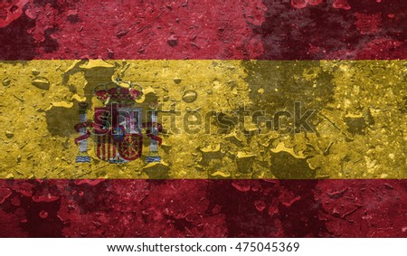 flag of Spain or Spanish banner on rough pattern metal background / flag of Spain  with raindrops
