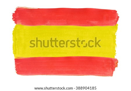 Flag of Spain painted with gouache