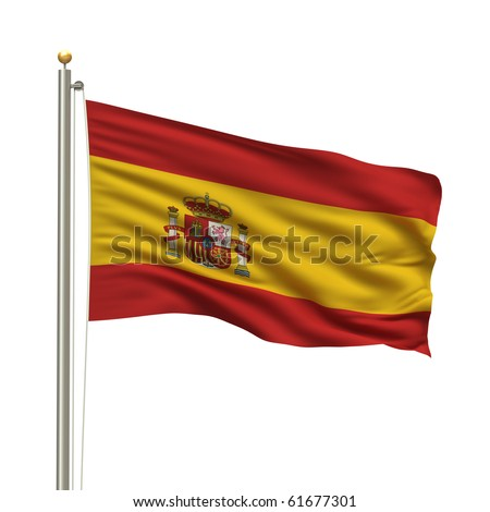Flag of Spain with flag pole waving in the wind over white background - stock photo