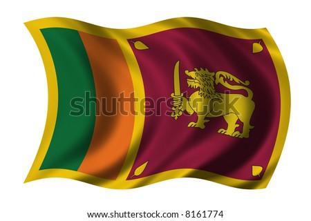 Flag of Sri Lanka waving in the wind - stock photo