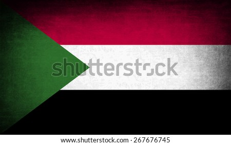 Flag of Sudan with old texture.  illustration - stock photo