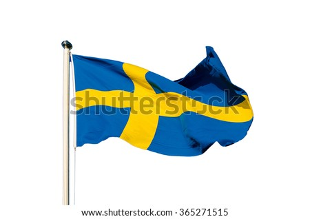 Flag of Sweden isolated on the white background, national patriotic symbol - stock photo