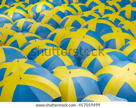 Flag of sweden on umbrella. 3D illustration - stock photo