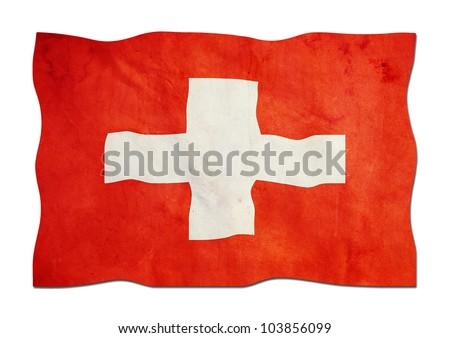 Flag of Switzerland made of Paper - stock photo
