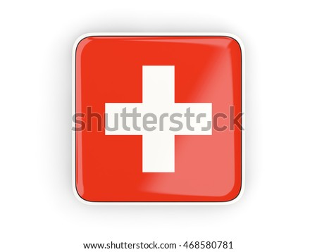 Flag of switzerland, square icon with white border. 3D illustration